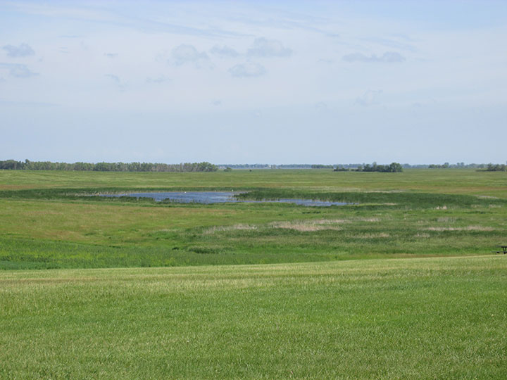 "The Ingalls land - in the center, a pond or ""swale"" helped provide water for the crops."